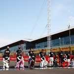 Seven drivers - including Max Verstappen and Charles Leclerc - stand during latest anti-racism protest before F1's 70th Anniversary Grand Prix at Silverstone as Lewis Hamilton wears BLM t-shirt while taking a knee
