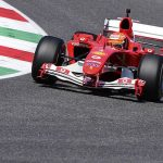 Mick Schumacher drives his father's 2004 title-winning Ferrari around Mugello at the Tuscan Grand Prix... as F1 icon continues to battle for his life after horror skiing accident seven years ago