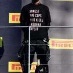 FIGHT FOR JUSTICE Lewis Hamilton wears 'Arrest the cops who killed Breonna Taylor' T-Shirt before winning Tuscan Grand Prix