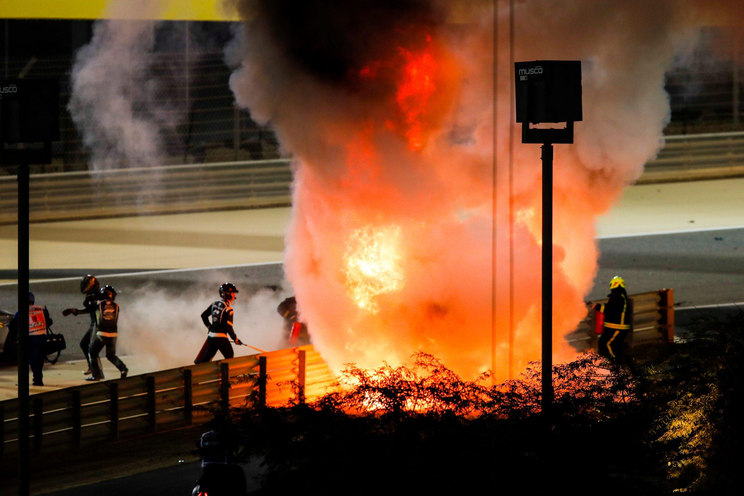 Romain Grosjean's helmet visor MELTED in fireball Bahrain GP crash, reveals hero doctor who saved F1 star